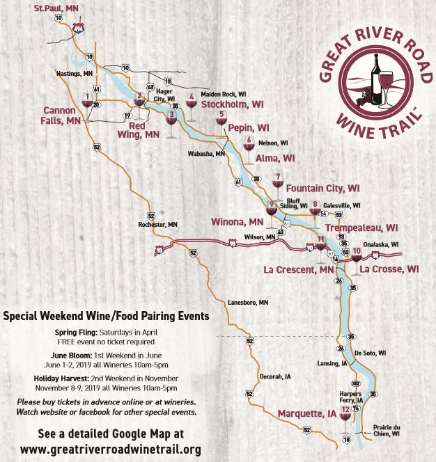 Great River Road Wine Trail Map, Map to Wineries ...